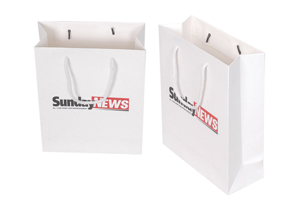 Very nice quality white paper bag printing with ribbon handle CNP7-12